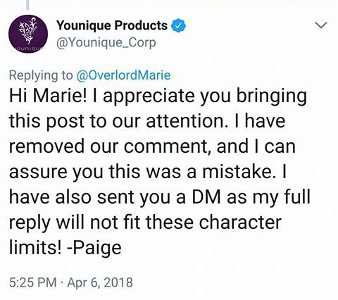 Marie Porter Tweet to Younique 2