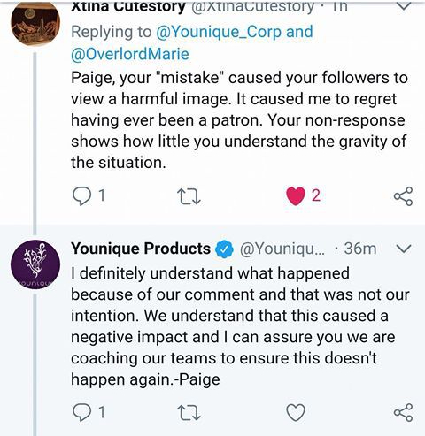 Marie Porter Tweet to Younique 3