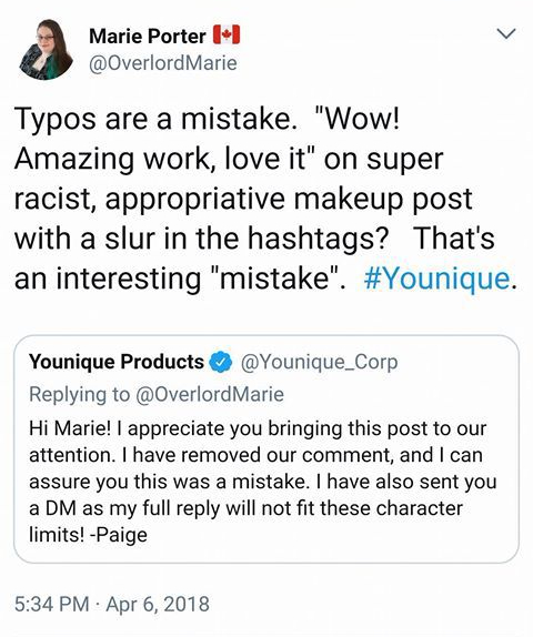 Marie Porter Tweet to Younique 5